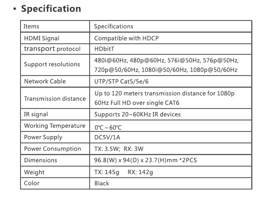 1080p 120m HDMI over IP extender by cat5/5e/6 with IR